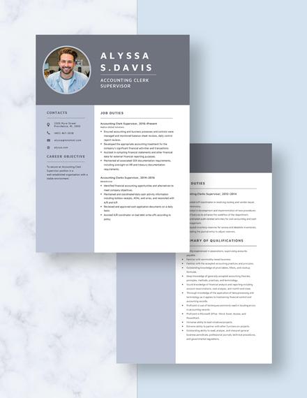 Accounting Clerk Supervisor Resume Download