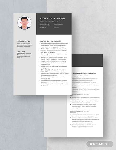 Accounting Representative Resume Download