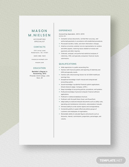 Accounting Specialist Resume Template
