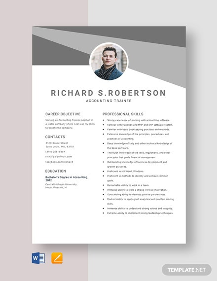 Accounting Trainee Resume Template