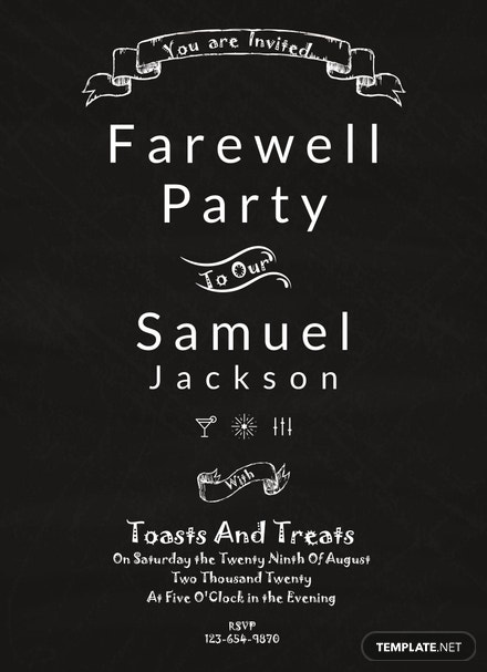 free chalkboard farewell party invitation template download 344