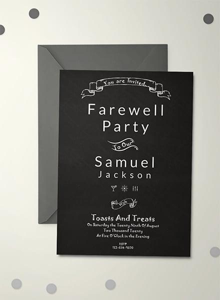 Free Chalkboard Farewell Party Invitation Template