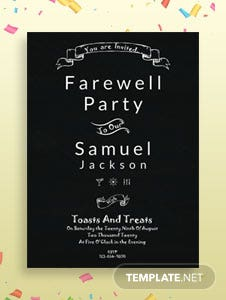 Free Chalkboard Farewell Party Invitation Template