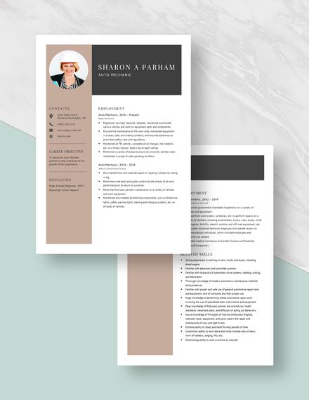 Auto Mechanic Resume Download