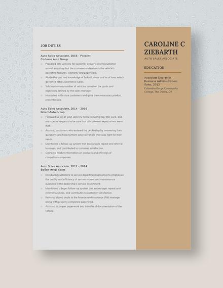 Auto Sales Associate Resume Template