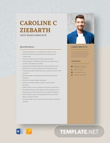 Auto Sales Associate Resume Template