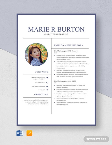 Chief Technologist Resume Template