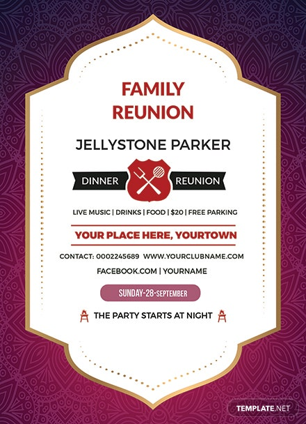 free family dinner reunion invitation template  download