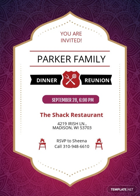 Family Dinner Reunion Invitation Template