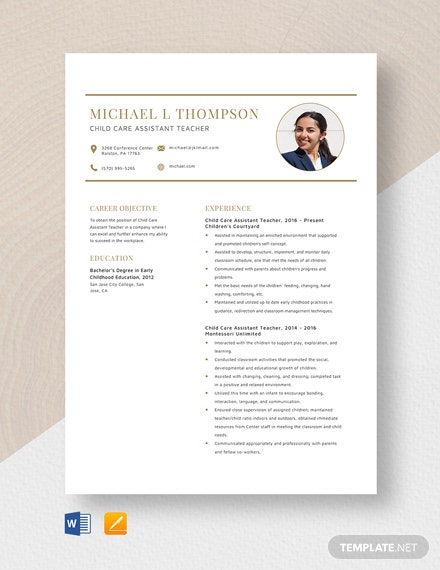 Child Care Assistant Teacher Resume Template