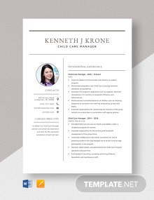 Child Care Manager Resume Template