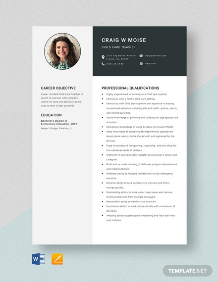 Child Care Teacher Resume Template