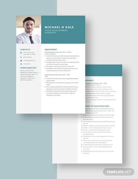 Child Development Associate Resume Download