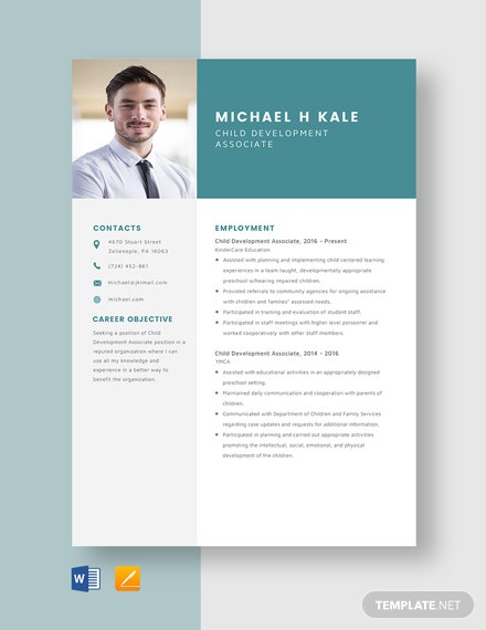 Child Development Associate Resume Template