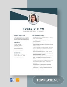 Child Development Specialist Resume Template