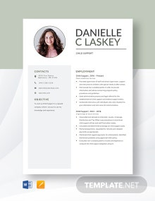 Child Support Resume Template