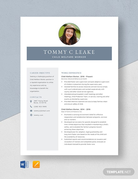 Child Welfare Worker Resume Template