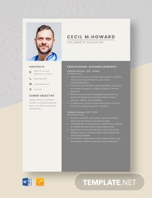 Childbirth Educator Resume Template