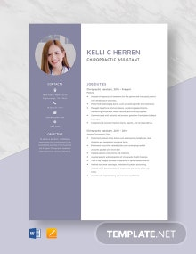 Chiropractic Assistant Resume Template