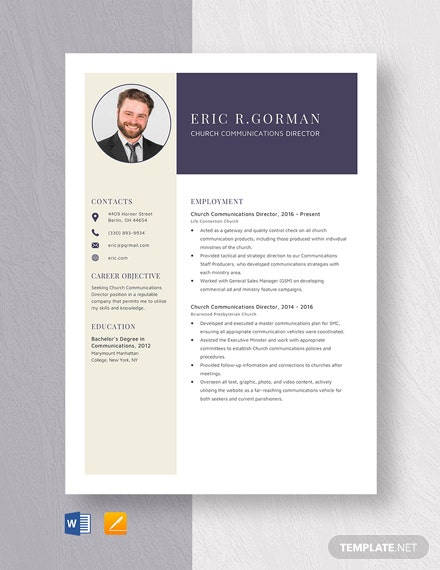 Church Communications Director Resume Template