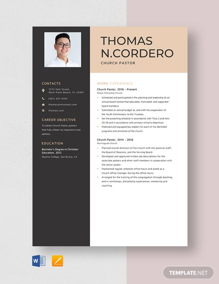 Church Pastor Resume Template