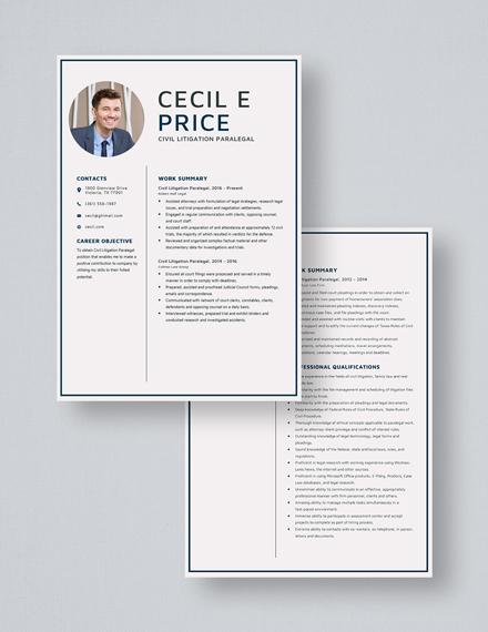 Civil Litigation Paralegal Resume Download