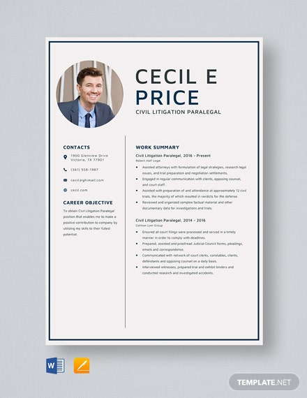 Civil Litigation Paralegal Resume Template