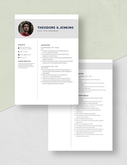 Civil Site Engineer Resume Download