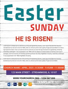 Free Easter Sunday Risen Flyer Template