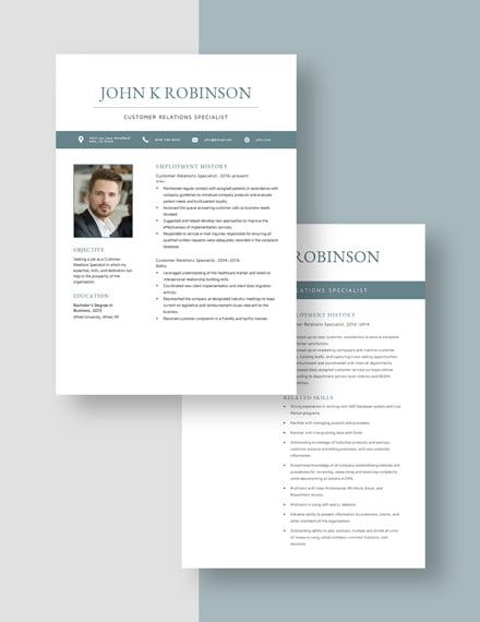 Customer Relations Specialist Resume Download
