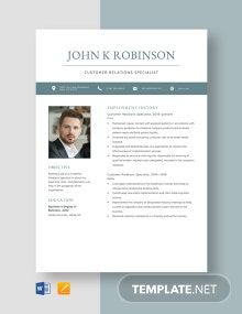 Customer Relations Specialist Resume Template