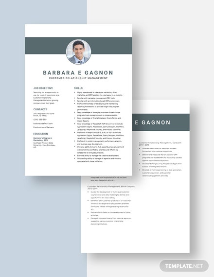 Customer Relationship Management Resume Download
