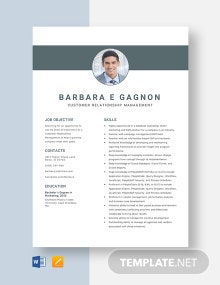Customer Relationship Management Resume Template