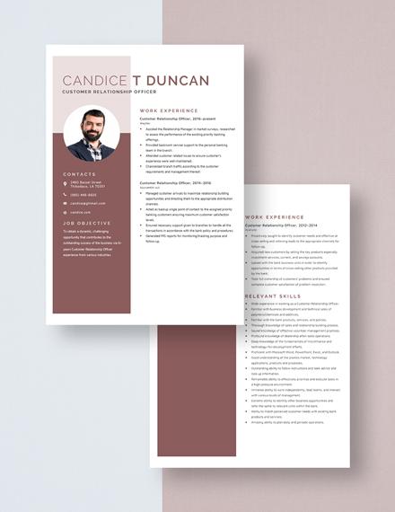 Customer Relationship Officer Resume Download