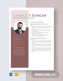 Customer Relationship Officer Resume Template