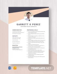 Customer Sales Associate Resume Template