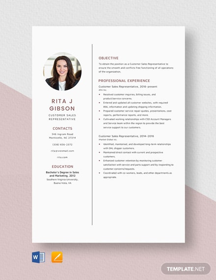 Customer Sales Representative Resume Template