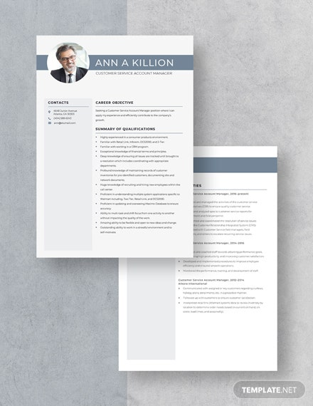 Customer Service Account Manager Resume Download