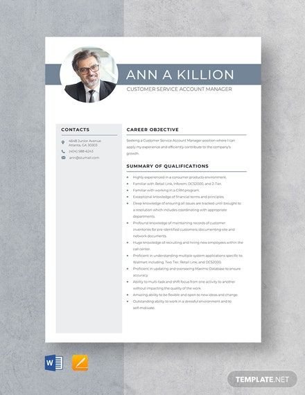 Customer Service Account Manager Resume