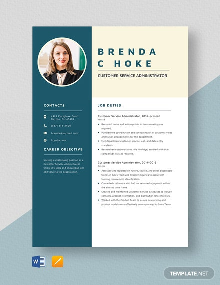Customer Service Administrator Resume Template