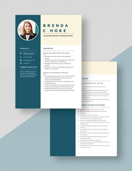 Customer Service Administrator Resume Download