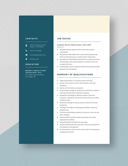 Customer Service Administrator Resume Template