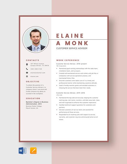 Customer Service Advisor Resume Template