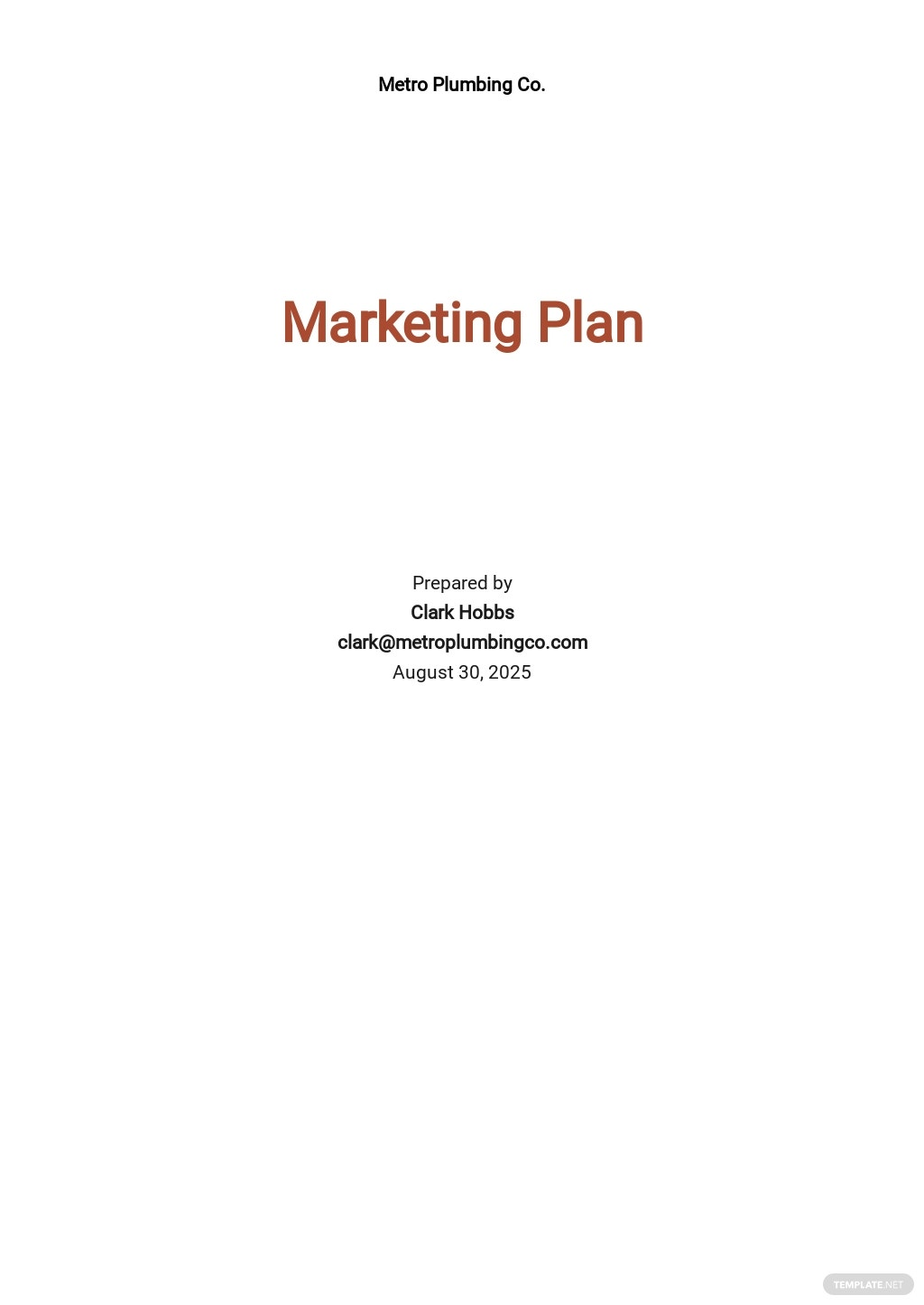 Plumbing Company Marketing Plan Template