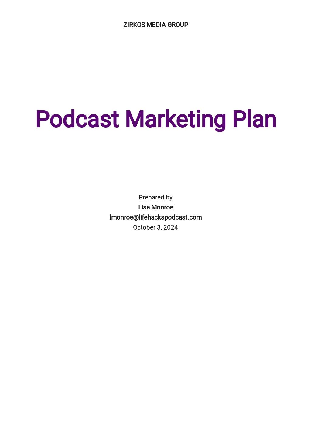 Podcast Marketing Plan Template