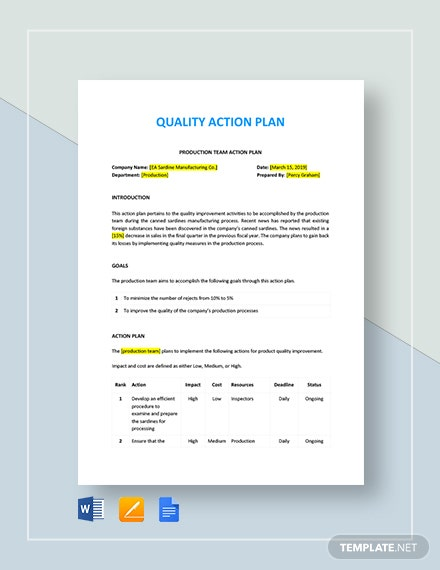 Quality Action Plan Template