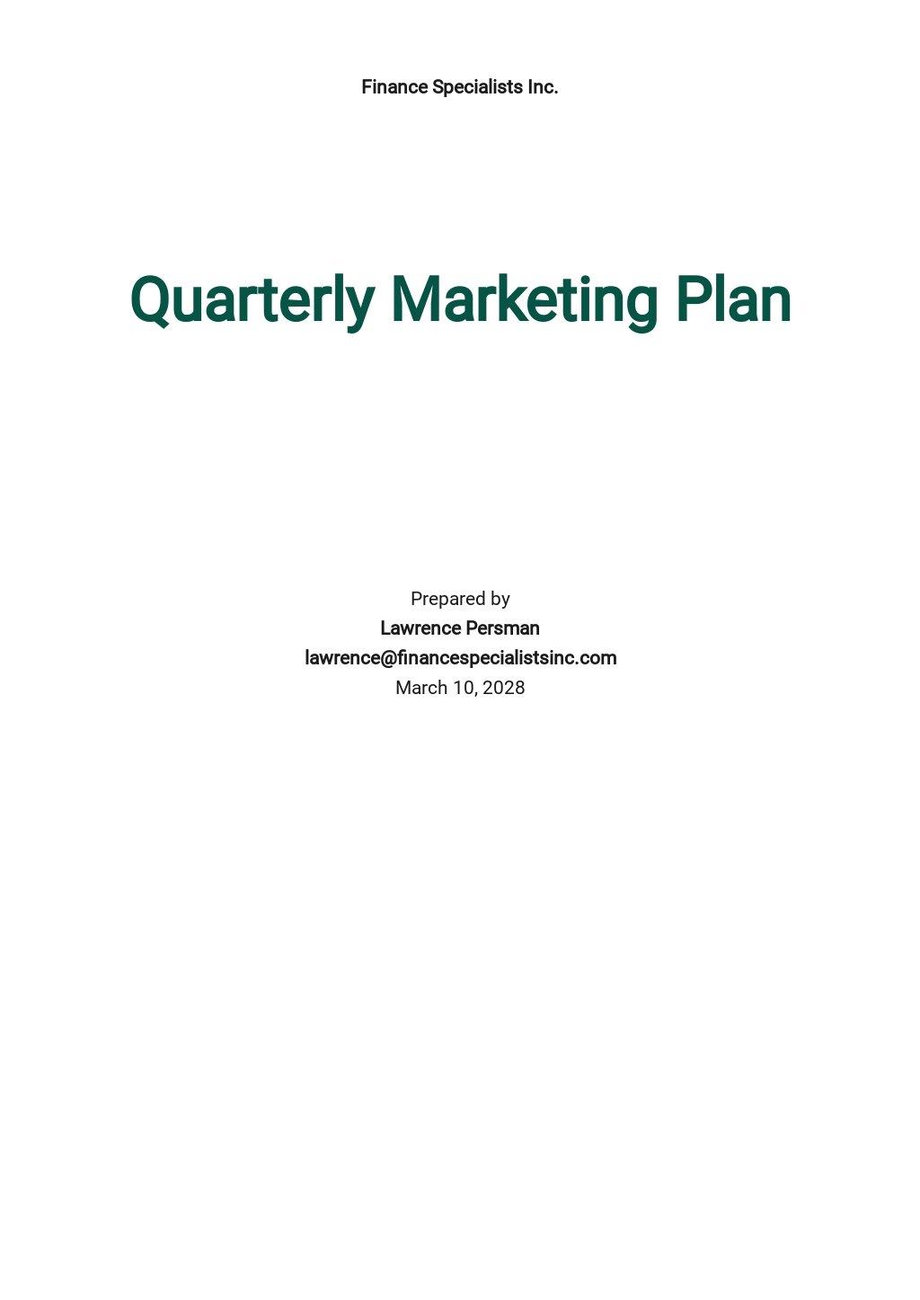 Quarterly Marketing Plan Template