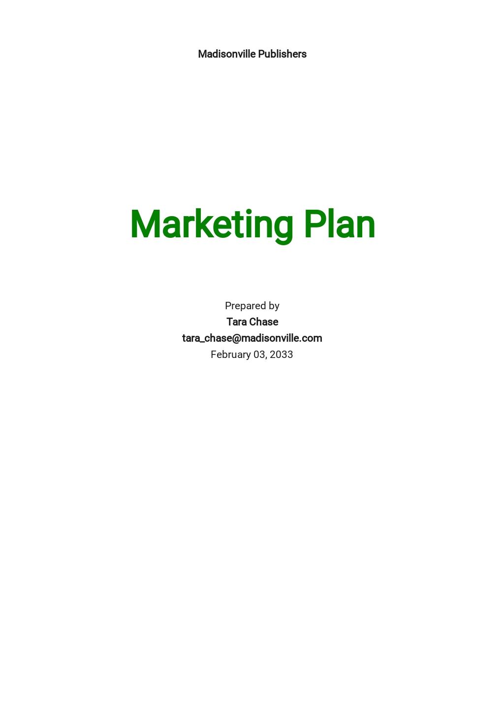 Self-Publishing Marketing Plan Template