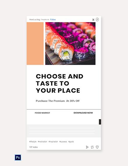 Free Editable Food App Promotion Tumblr Post Template