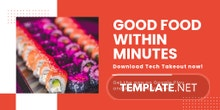 Free Editable Food App Promotion Twitter Post Template